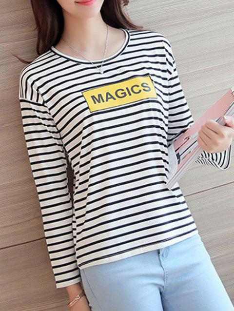 Bref Women 's  Striped Lettre Imprimer manches longues T-shirt - Rayure XL