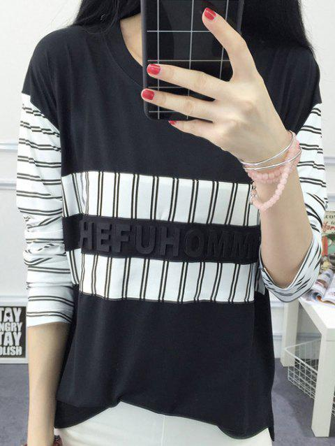 Striped Slit Spliced ​​T-Shirt Femme Casual  's manches longues - Noir XL