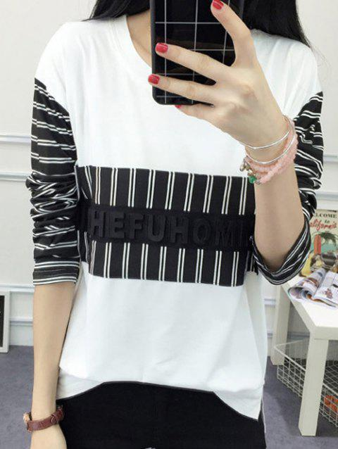 Striped Slit Spliced ​​T-Shirt Femme Casual  's manches longues - Blanc 2XL