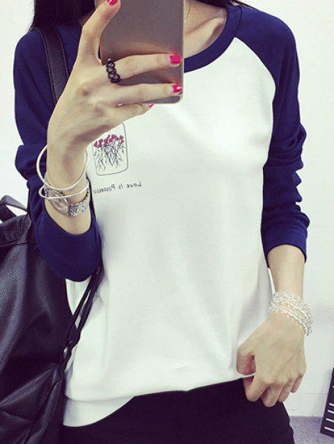 Color Block T-shirt imprimé - Blanc L