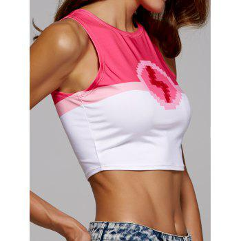 Two Tone Sleeveless Crop Top - ROSE RED XL