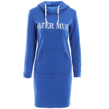 Stylish Style Long Sleeve Hooded Letter Pattern Women's Hoodie Dress