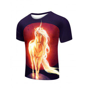3D Unicorn Print Round Neck Short Sleeve Stylish Men's T-Shirt - BLACK BLACK