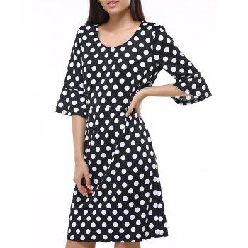 Vintage Flare Sleeve Polka Dot Dress For Women
