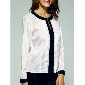 Graceful Hit Color Ruched Blouse For Women