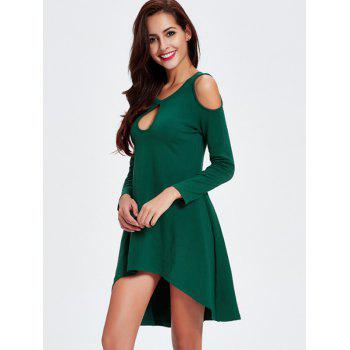 Alluring Cut Out High Low Dress For Women - GREEN 2XL