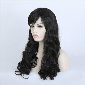 Korean Style Sweet Full Bang Long Wavy High Temperature Hair Fiber Wig For Women -  BLACK