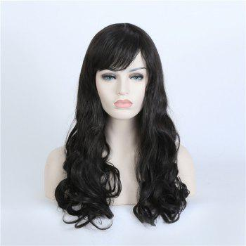 Korean Style Sweet Full Bang Long Wavy High Temperature Hair Fiber Wig For Women - BLACK BLACK