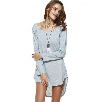 Brief Pure Color High-Low Dress - GRAY L