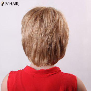 Trendy Natural Straight Capless Human Hair Fluffy Short Layered Siv Hair Wig For Women - BROWN/BLONDE