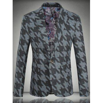 Houndstooth Pattern One-Button Lapel Long Sleeve Men's Blazer