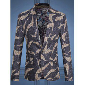 Bird Pattern Flap Pocket One-Button Lapel Long Sleeve Men's Blazer