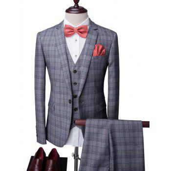 Plaid One-Button Lapel Long Sleeve Men's Three-Piece Suit ( Blazer + Waistcoat + Pants )