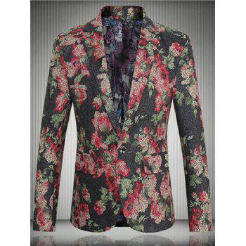 Floral Flap Pocket One-Button Lapel Long Sleeve Men's Blazer