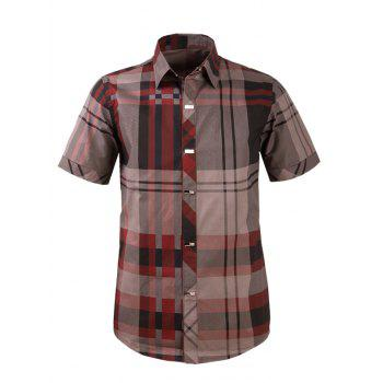 Plaid Snap Button Turn-down Collar Men's Short Sleeve Shirt