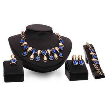 Faux Sapphire Cut Out Teardrop Gold Plated Necklace Set