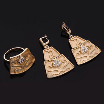 Gold Plated Embossed Gragon Rhinestone Necklace Set - ROSE GOLD