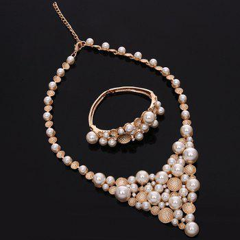 Beads Faux Pearl Etched Round Fake Collar Necklace Set - ROSE GOLD