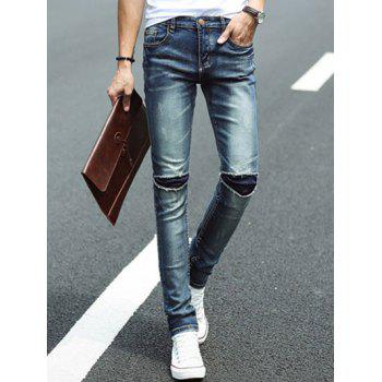 Scratch Ripped Knee Hole Men's Tapered Jeans