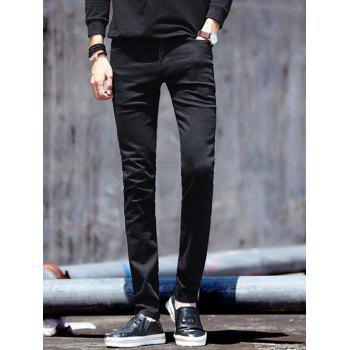 Solid Color Zipper Fly Men's Skinny Jeans