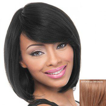 Women's Short Straight Side Bang Charming Human Hair Wig