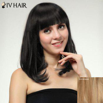 Women's Medium Straight Tail Adduction Full Bang Sweet Siv Human Hair Wig