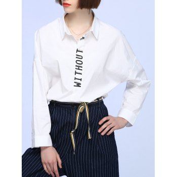 Bat Sleeve Beaded Letter Blouse - WHITE ONE SIZE