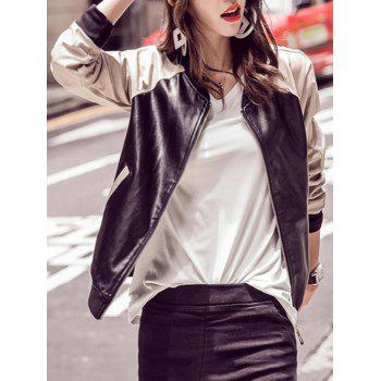 Long Sleeve Faux PU Jacket
