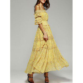 Off The Shoulder Puff Sleeve Print Dress