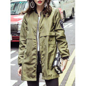 Long Sleeve Appliques Stand Collar Trench Coat