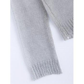 Trendy Long Sleeve Hollow Out Pure Color Women's Knitwear - SILVER ONE SIZE