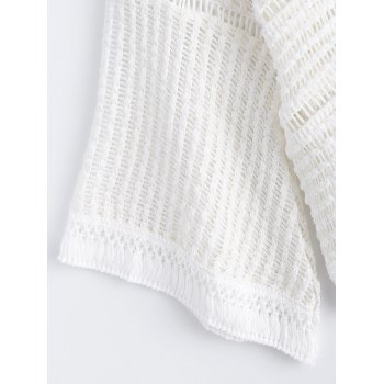Chic 3/4 Sleeve Hollow Out Crochet Women's Knitwear - WHITE ONE SIZE