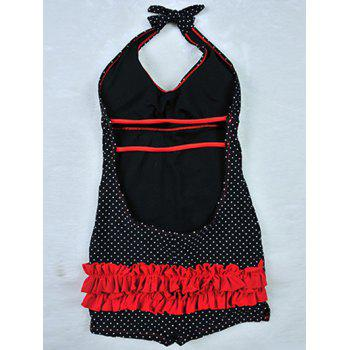 Trendy Halter Polka Dot Backless Ruched One Piece Swimsuit - BLACK 2XL