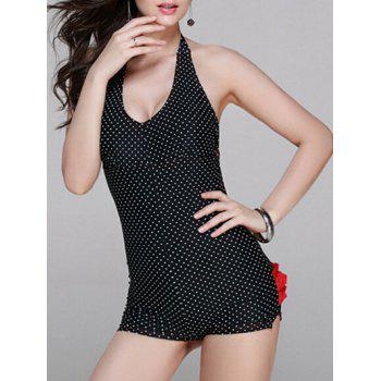 Trendy Halter Polka Dot Backless Ruched One Piece Swimsuit