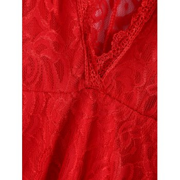 Sexy Short Sleeve Plunging Neck Solid Color Lace Women's Dress - RED S