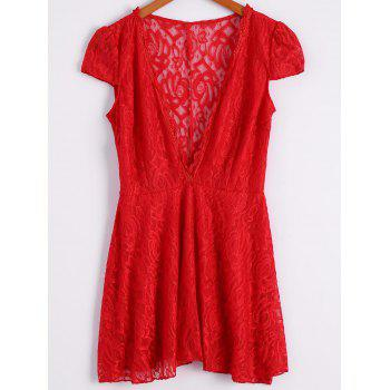 Sexy Short Sleeve Plunging Neck Solid Color Lace Women's Dress