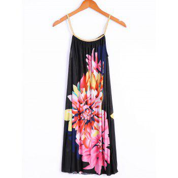 Stylish Scoop Neck Sleeveless Spliced Floral Print Women's Dress