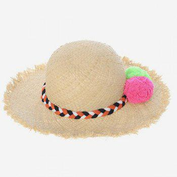 Sea Side Casual Pompon Weaving Rope Embellished Women's Straw Hat