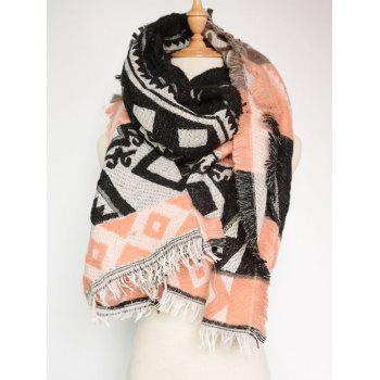Bohemian Style Geometry Printed Outdoor Warm Fringed Pashmina Scarf - BLACK