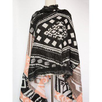 Bohemian Style Geometry Printed Outdoor Warm Fringed Pashmina Scarf