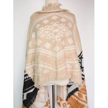 Buy Bohemian Style Geometry Printed Outdoor Warm Fringed Pashmina Scarf LIGHT KHAKI