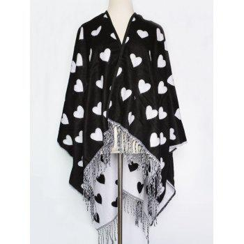 Britain Style Sweet Heart Pattern Outdoor Warm Tassel Pashmina Scarf