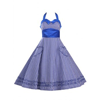 Retro Women's Checked Ruffled Flare Dress