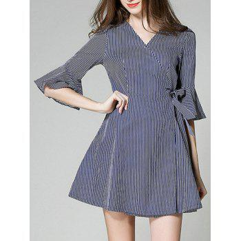 Graceful Women's Striped Bowknot Flare Sleeves Dress