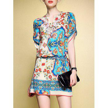 Graceful Women's Floral Print Sequin Loose Dress