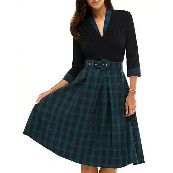 Vintage Ruched Plaid Pattern Dress For Women