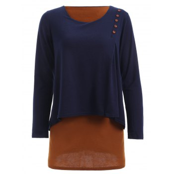 Casual Faux Two-Piece Button Design Top For Women