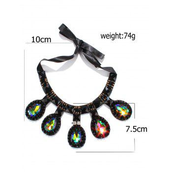 Colorful Faux Gem Water Drop Necklace - COLORMIX