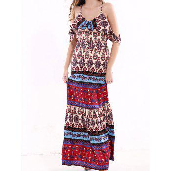 Tribal Print Flounce Long Boho Slip Dress