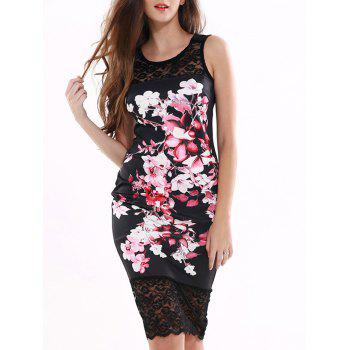 Floral Pattern Lace Splicing Dress